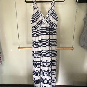 Blue and cream maxi dress